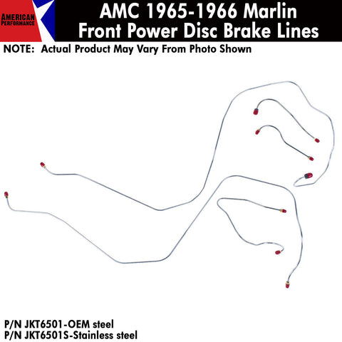 Disc Brake Line, Power Front, 5-Piece Kit, 1965-1966 AMC Marlin (OE Steel or Stainless)