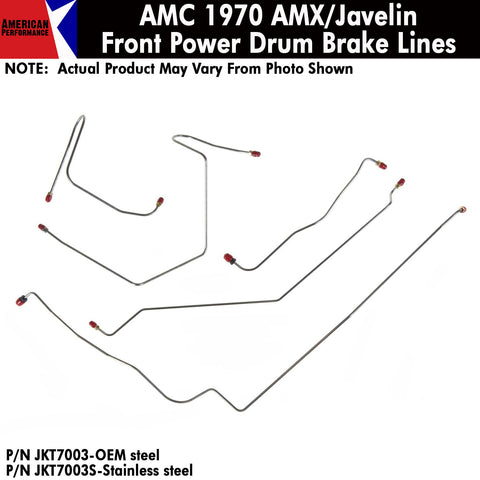 1970 AMC AMX/Javelin Power Front Drum Brake Line 5-Piece