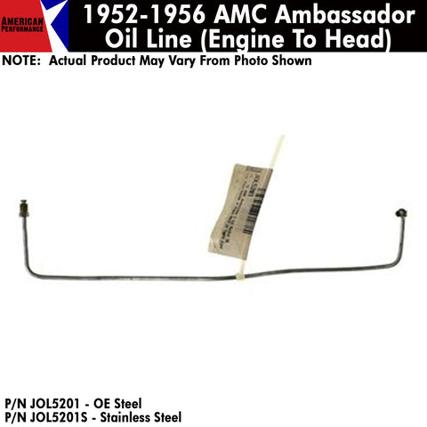 Oil Line, Engine Block To Head Rocker, 1952-56 AMC Ambassador 6-Cylinder (OE Steel or Stainless)