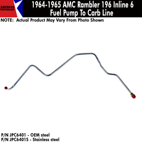 products amc lives 1967 ford fairlane wiring diagram 1964 1965 amc rambler 196 inline 6 fuel pump to carb lines (2 variations