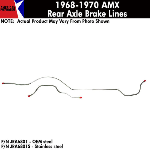 Rear Axle Brake Line, 2-Piece, 1965-66 AMC Marlin (OE Steel or Stainless)