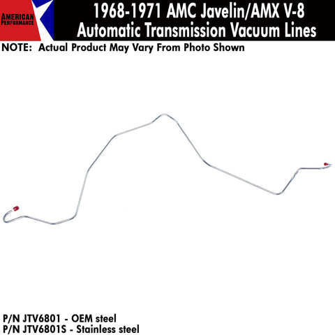 Vacuum Line, Transmission, V-8 w/Automatic, 1972-74 AMC Javelin, Javelin AMX (OE Steel or Stainless)
