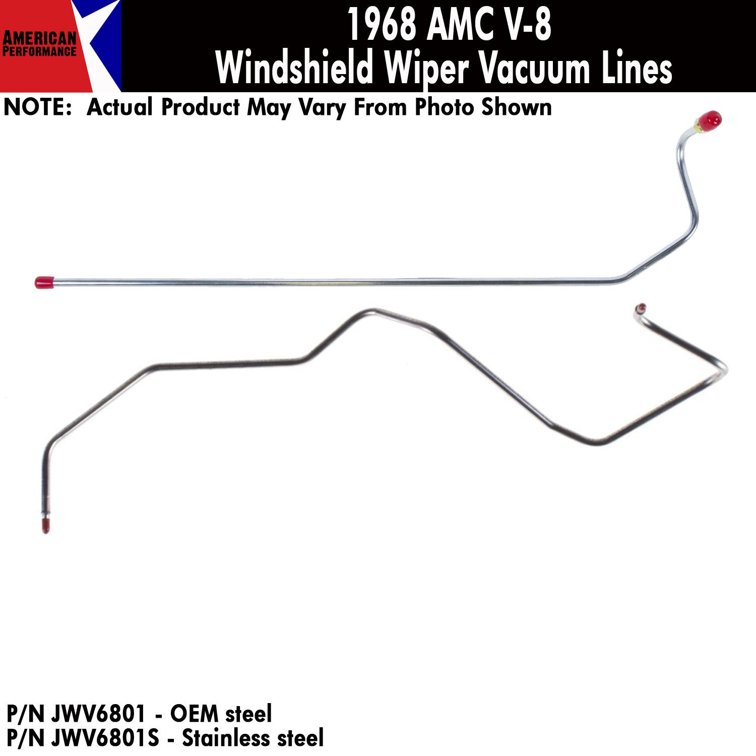 1968 AMC V-8 Windshield Wiper Vacuum Line 2-Piece Kit (2