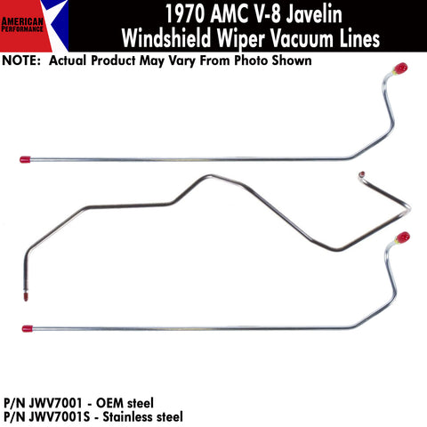 1970 AMC V-8 Windshield Wiper Vacuum Line 3-Piece Kit (2 Variations)