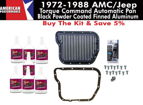 Transmission Pan Kit, 727 Torque Command, Finned Black Aluminum, 1972-88 AMC, Jeep
