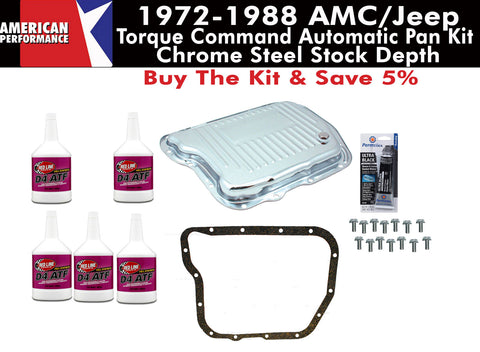1972-1988 AMC/Jeep 727 Torque Command Finned Chrome Steel Transmission Pan Kit