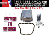 Transmission Pan Kit, 727 Torque Command, Finned Polished Aluminum, 1972-88 AMC, Jeep