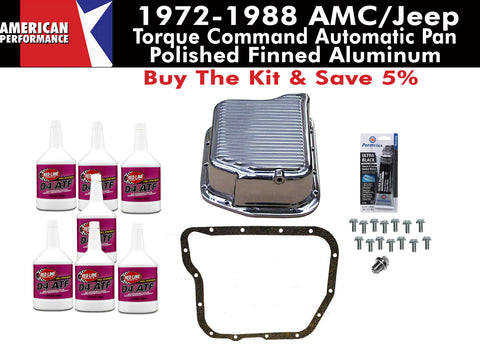 1972-1988 AMC/Jeep 727 Torque Command Polished Finned Aluminum Transmission Pan Kit