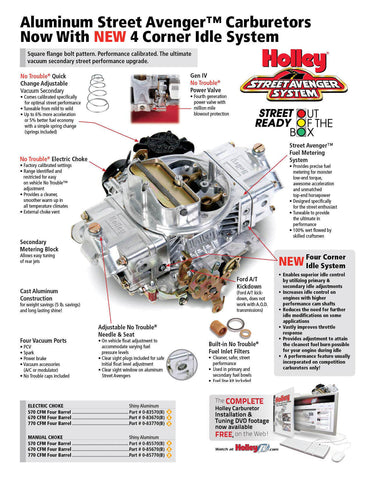 Carburetor, Holley 870 CFM Street Avenger Aluminum, Vacuum Secondaries & Manual Choke, 1966-91 AMC, Rambler, Jeep