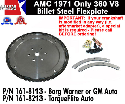 Flexplate, Billet Steel, 1971-Only AMC 360 - 2 Versions