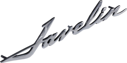 "Fender, Hood, Quarter Panel Emblem, ""Javelin"" Script, 1968-74 AMC Javelin (Large & Medium) - AMC Lives"