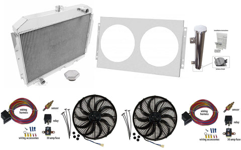 2-Row Aluminum Radiator Master Kit for 1958-88 AMC/Rambler, Not OE Fit, Lifetime Warranty