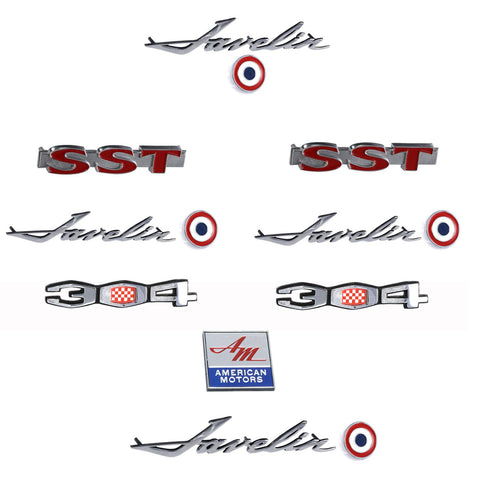 Early 1970 AMC Javelin SST 304 Complete Exterior Emblem Kit