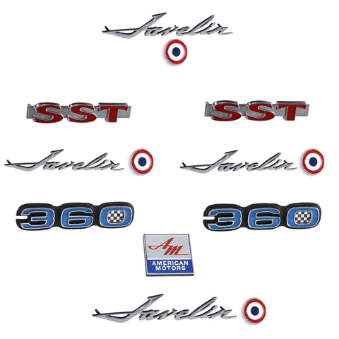 Early 1970 AMC Javelin SST 360 Complete Exterior Emblem Kit
