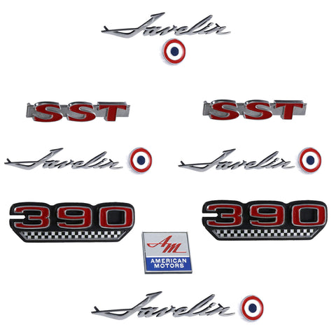 Early 1970 AMC Javelin SST 390 Complete Exterior Emblem Kit