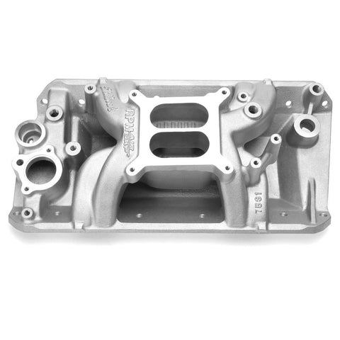 Intake Manifold, Edelbrock RPM Air Gap Aluminum, 1970-91 AMC, Jeep V8, Satin or Polished