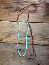 Leather and Turquoise Bead Crystal Prism Necklace