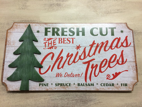 Fresh Cut Christmas Tree Wooden Wall Plaque