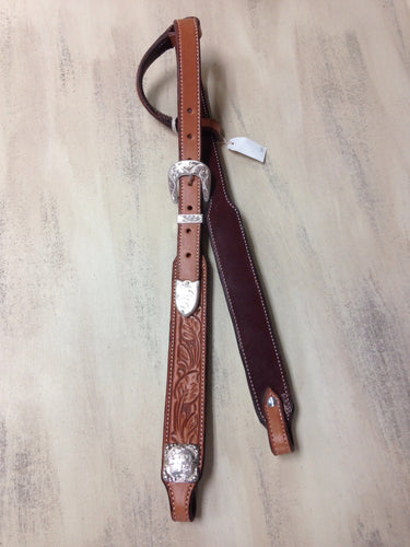 Leaf Carved Silver Sliding Ear Piece Headstall