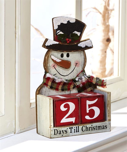 Snowman Christmas Wooden Block Countdown
