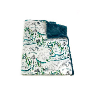 "White ""Into the Woods"" Adventure Mountains Minky Blanket - Baby Blanket Size"