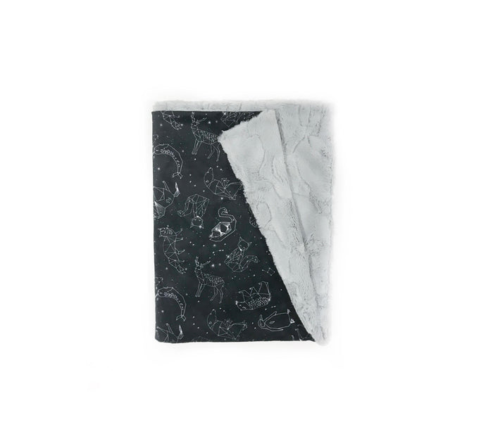 Black Constellations Minky Blanket - Baby Blanket Size