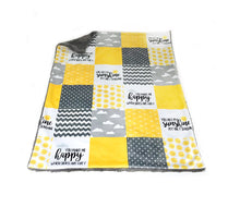 "Load image into Gallery viewer, Yellow and Grey ""You are my Sunshine"" Faux Quilt Minky Blanket - Baby Blanket Size"