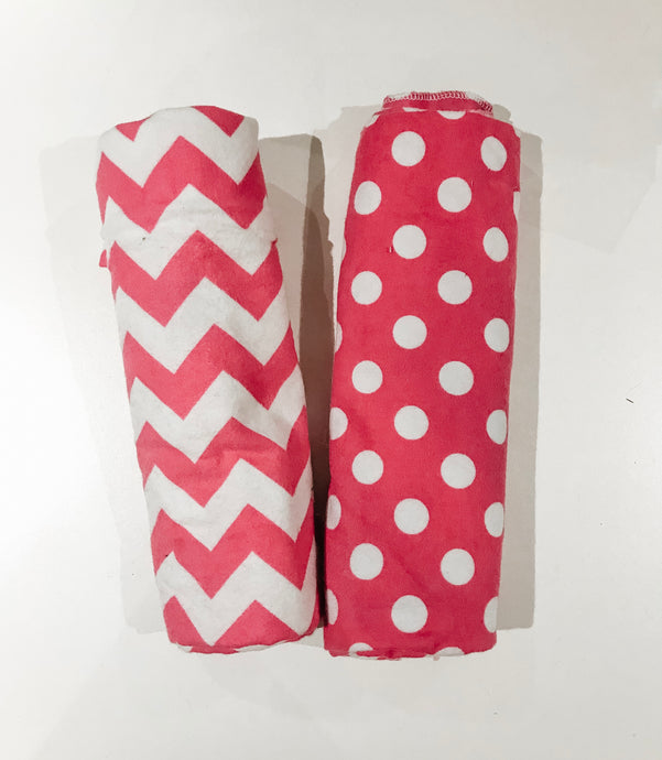 SALE - Single-Sided Flannel Receiving Swaddle Blankets - Pink Dots/Chevron