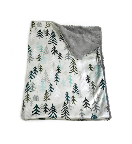 "Grey ""Solitude"" Trees Minky Blanket - Baby Blanket Size"