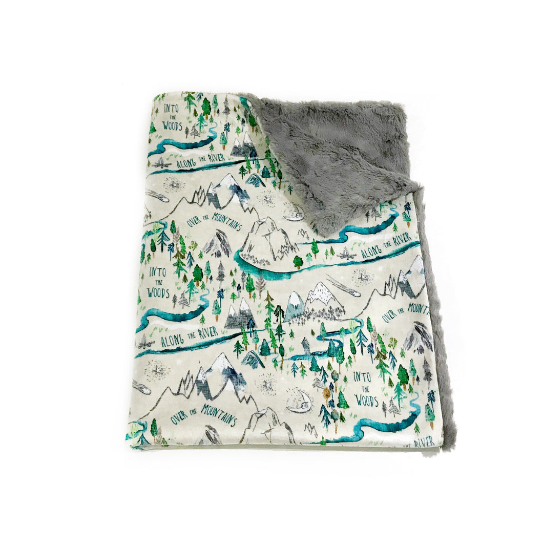 "Grey ""Into the Woods"" Adventure Mountains Minky Blanket - Baby Blanket Size"