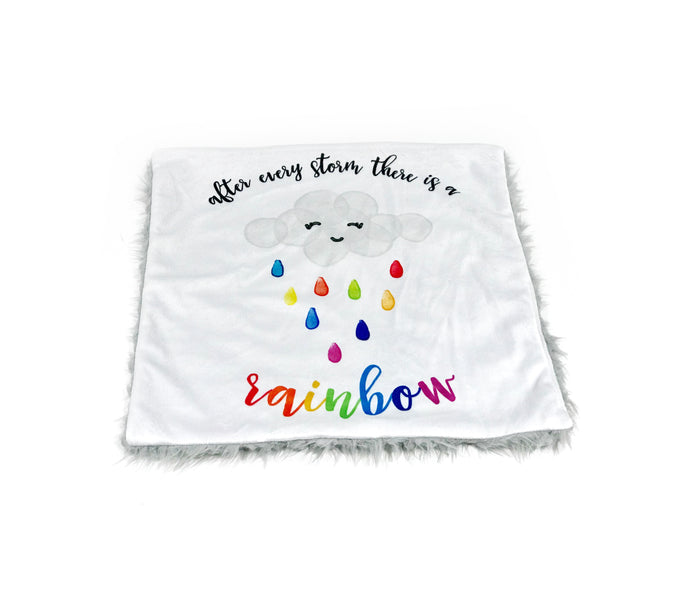 """After Every Storm There is a Rainbow"" Minky Blanket - Small Lovey Size"