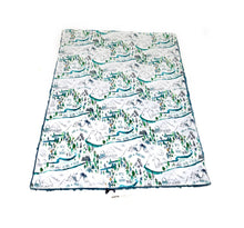 "Load image into Gallery viewer, White ""Into the Woods"" Adventure Mountains Minky Blanket - Baby Blanket Size"