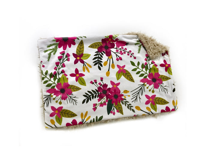 Autumn Sprigs & Bloom Floral Minky Blanket - Large Lovey Size