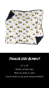 Yellow Construction Trucks Minky Blanket - CUSTOM Blanket Size