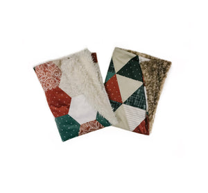 Copper/Olive/Stone Linen and Lace Hexagons Faux Quilt Minky Blanket - CUSTOM SIZE