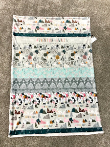 "Girl ""Adventure Awaits"" Mountain Minky Blanket - Child Blanket Size"