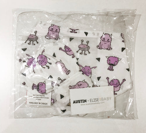 SALE - Bandana Bib and Teether Gift Set - Purple Monsters