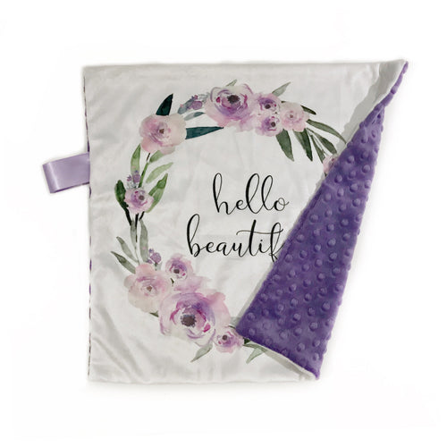 "Purple Floral ""Hello Beautiful"" Minky Blanket - Small Lovey Size"