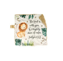 "Load image into Gallery viewer, ""The Lord is With You"" Lion Minky Blanket - Small Square Lovey Size"
