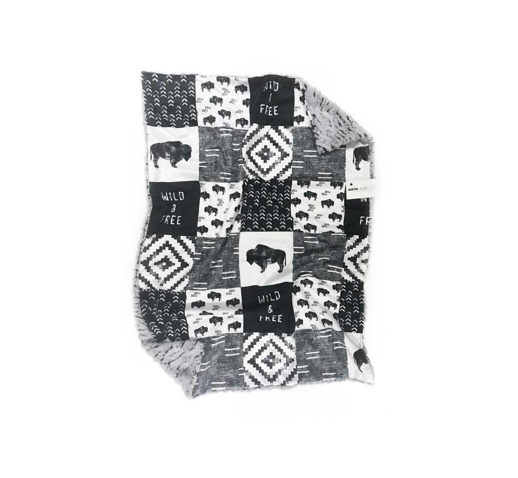 Wild + Free Black/White Buffalo Faux Quilt Minky Blanket - Baby Blanket Size