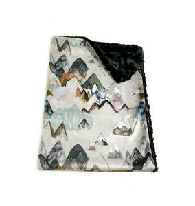 "Earth ""Call of the Mountains"" Minky Blanket - Baby Blanket Size"