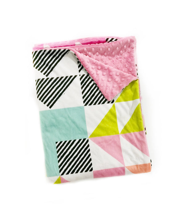 Pink and Aqua Triangle Puzzlecloth Minky Blanket - Child Blanket Size