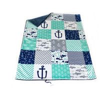 "Load image into Gallery viewer, Navy and Mint ""Under the Sea"" Faux Quilt Minky Blanket - Baby Blanket Size"