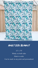 Load image into Gallery viewer, Navy Blue Rose Floral Minky Blanket - CUSTOM Blanket Size