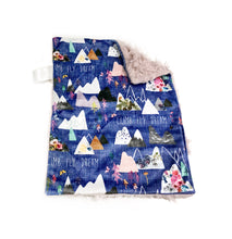 "Load image into Gallery viewer, Grape ""Mountain Dreams"" Minky Blanket - Small Lovey Size"