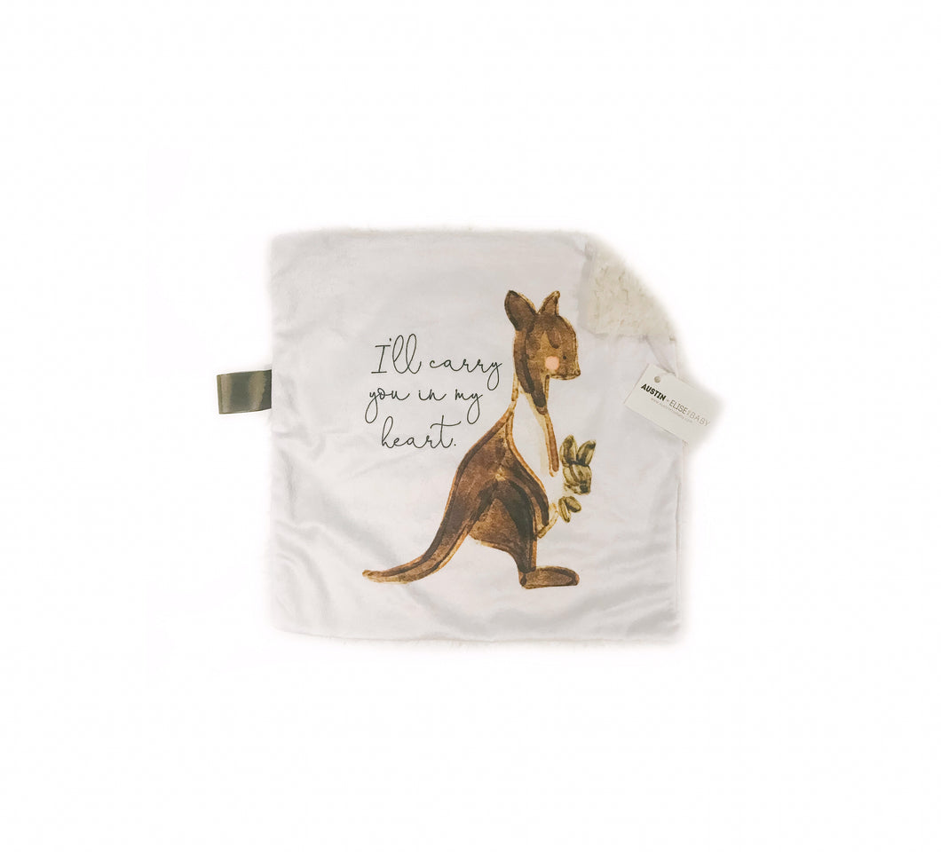 """I'll Always Carry You in my Heart"" Kangaroo Minky Blanket - Small Lovey Size"