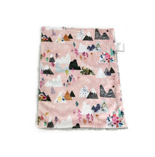 "Load image into Gallery viewer, Rose Pink ""Mountain Dreams"" Minky Blanket - Small Lovey Size"