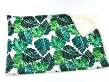 Load image into Gallery viewer, Palm Leaves Minky Blanket - Baby Blanket Size