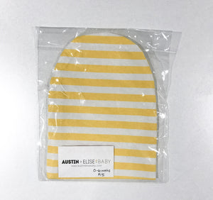 SALE - Slouch Beanies - Yellow/White Stripes Knit