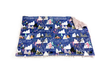 "Load image into Gallery viewer, Grape Purple ""Mountain Dreams"" Minky Blanket - Large Lovey Size"